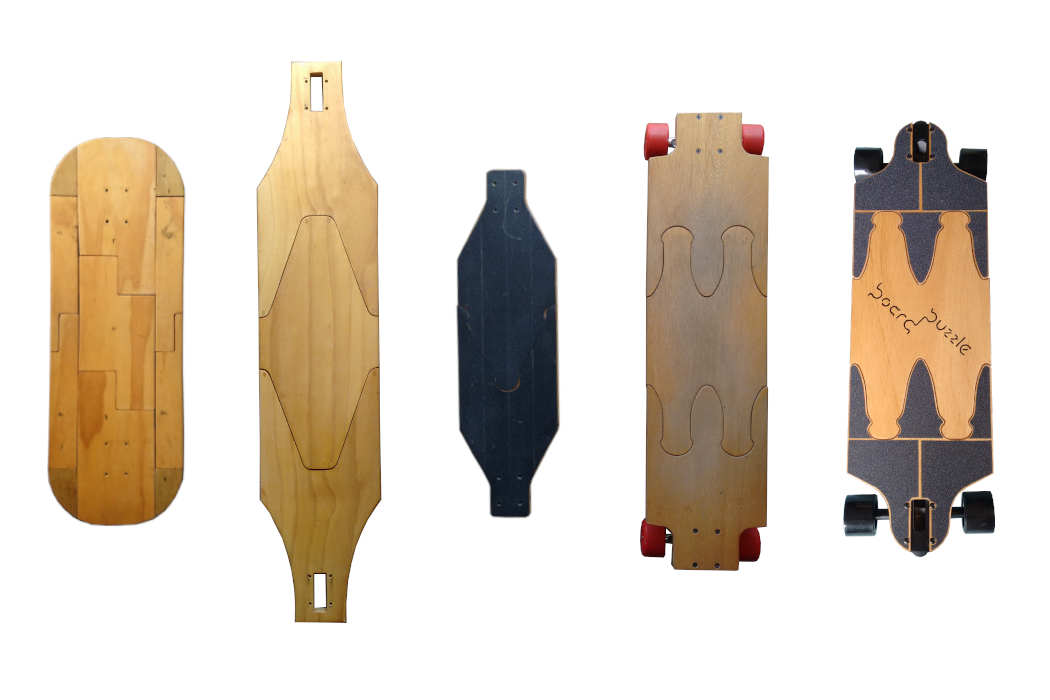 A selection of the many prototype skateboards